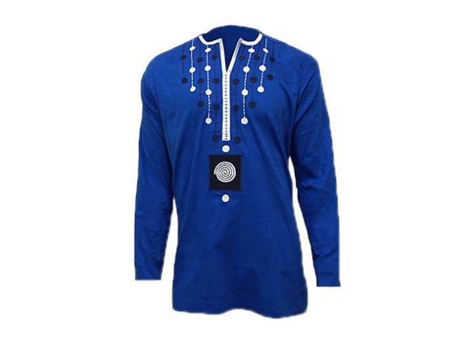 prestige_blue_stretched_cotton_long_sleeve_shirt_with_white_and_black_dotted_design-base